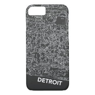 Detroit Line Map Dark Grey Case