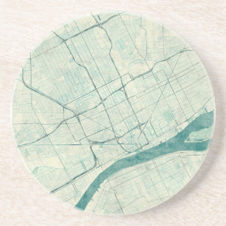 Detroit Map Blue Vintage Coaster
