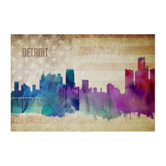 Detroit, MI | Watercolor City Skyline Acrylic Print