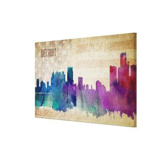 Detroit, MI   Watercolor City Skyline Canvas Print