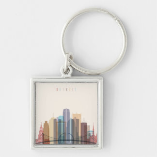 Detroit, Michigan | City Skyline Key Ring