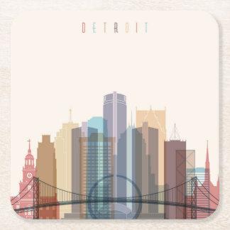 Detroit, Michigan   City Skyline Square Paper Coaster