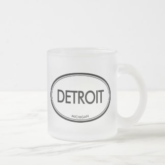 Detroit, Michigan Frosted Glass Coffee Mug