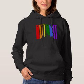 Detroit Michigan Gay Pride Rainbow Skyline Hoodie