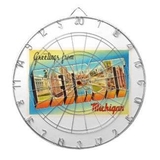 Detroit Michigan MI Old Vintage Travel Souvenir Dart Boards
