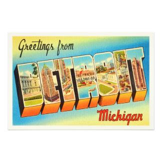 Detroit Michigan MI Old Vintage Travel Souvenir Photo Print