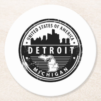 Detroit, Michigan Round Paper Coaster