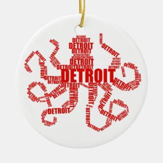 Detroit Octopus Round Ceramic Decoration