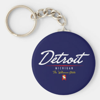 Detroit Script Key Ring
