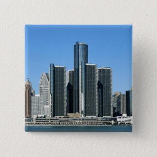 Detroit Skyline 4 15 Cm Square Badge