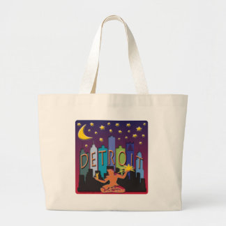 Detroit Skyline Mega Color Large Tote Bag