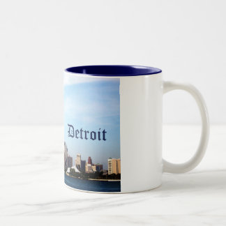 detroit skyline Two-Tone coffee mug