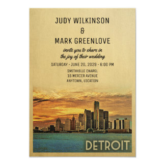 Detroit Wedding Invitation Michigan