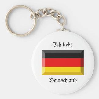 Deutschland Flag Gem Basic Round Button Key Ring