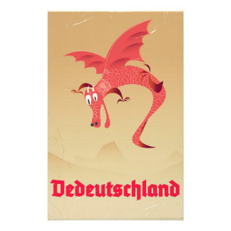 Deutschland flying dragon vintage poster stationery