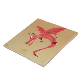 Deutschland flying dragon vintage poster tile