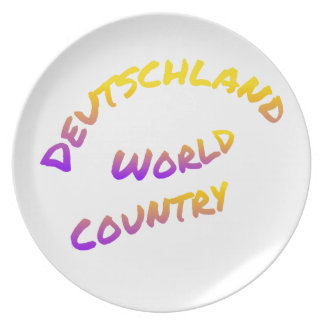 Deutschland world country, colorful text art dinner plates
