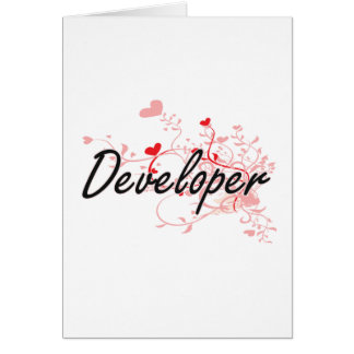Developer Artistic Job Design with Hearts Greeting Card
