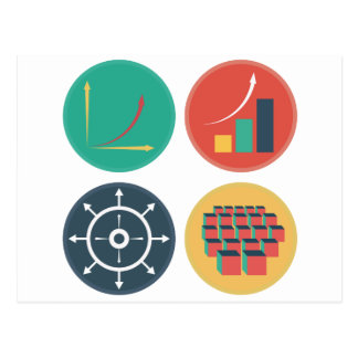 Development of Exponential Growth Icons Postcard