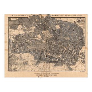 Development Plan Map of Berlin Germany in 1862 Postcard