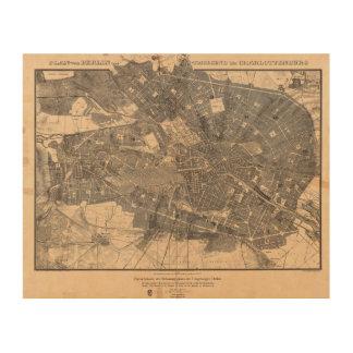 Development Plan Map of Berlin Germany in 1862 Wood Prints