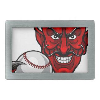 Devil Baseball Sports Mascot Rectangular Belt Buckle