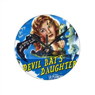Devil Bat's Daughter, vintage horror movie poster Round Clock