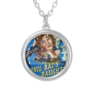 Devil Bat's Daughter, vintage horror movie poster Silver Plated Necklace