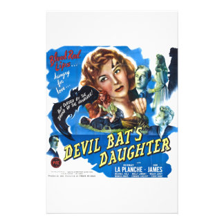 Devil Bat's Daughter, vintage horror movie poster Stationery