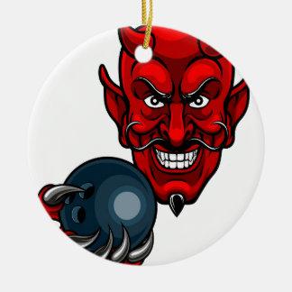Devil Bowling Sports Mascot Ceramic Ornament