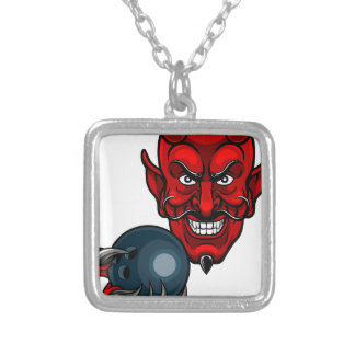 Devil Bowling Sports Mascot Silver Plated Necklace