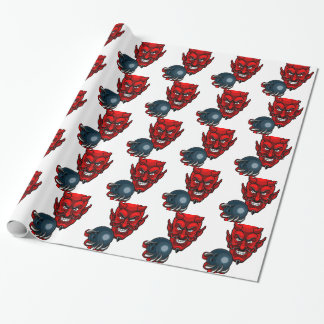 Devil Bowling Sports Mascot Wrapping Paper