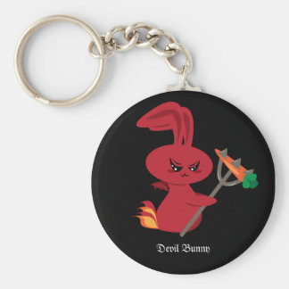 Devil Bunny Basic Round Button Key Ring