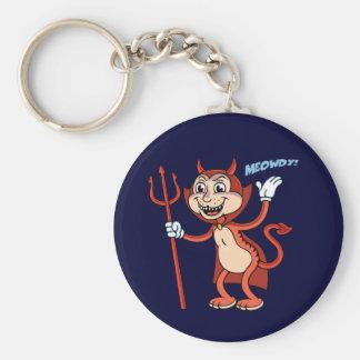 Devil Cat Basic Round Button Key Ring