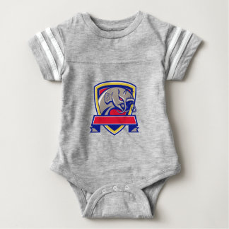 Devil Catfish Head Shield Retro Baby Bodysuit