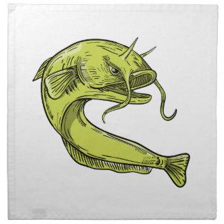 Devil Catfish Jumping Drawing Napkin