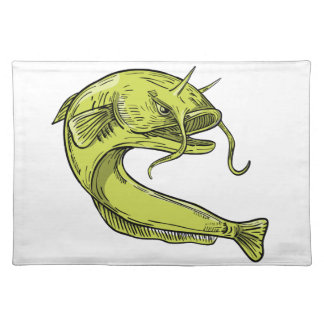 Devil Catfish Jumping Drawing Placemat