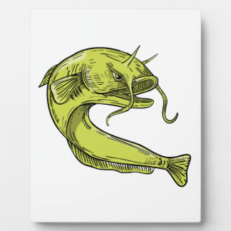 Devil Catfish Jumping Drawing Plaque