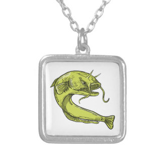 Devil Catfish Jumping Drawing Silver Plated Necklace