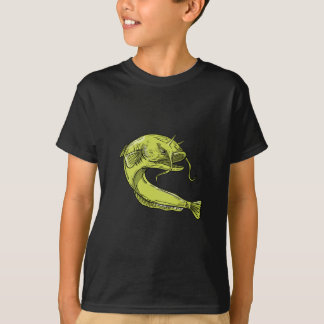Devil Catfish Jumping Drawing T-Shirt