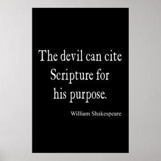 Devil Cite Scripture His Purpose Shakespeare Quote Poster