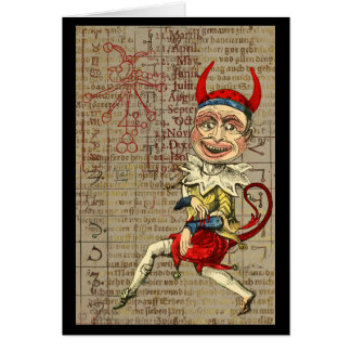 Devil Clown Zodiac Occult Symbols Card
