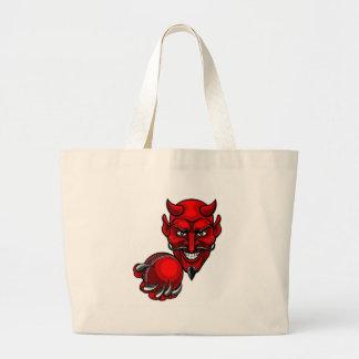 Devil Cricket Sports Mascot Large Tote Bag