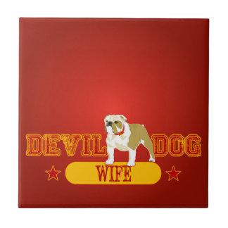 Devil Dog Wife Small Square Tile