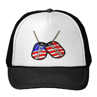 Devil Dogs American Flag Dog Tags Trucker Hats