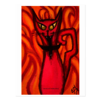 Devil Evil Cat Postcard