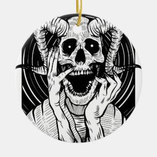 devil face ceramic ornament