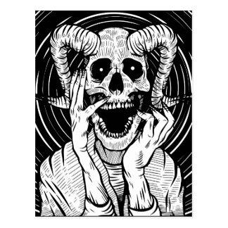 devil face postcard
