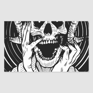 devil face rectangular sticker