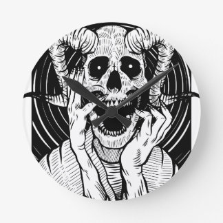 devil face round clock